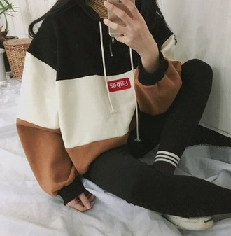 sweater hoodie black white grey pullover zipup brown gold baddies boujee tumblr pinterest socks 90s style style fashion love sweatshirt
