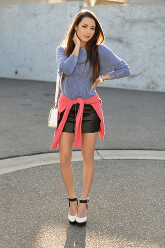 hapa time blogger leather skirt grey sweater heels top skirt jewels shoes sweater bag