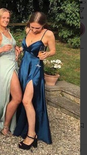 dress,satin blue navy maxi dress slit strappy
