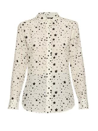 blouse silk white print top