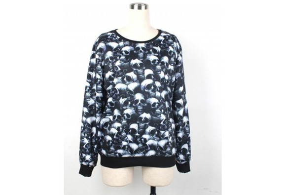 long sleeves sweater hoodie skull skull printed sweater women's fashion men's fashion
