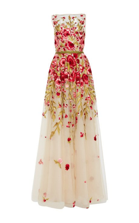 Floral embroidered sleeveless gown by naeem khan