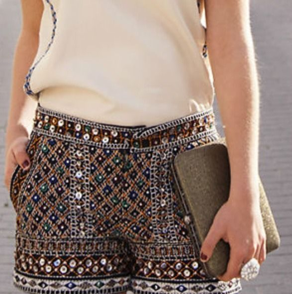 RARE Zara Embroidered Ethnic Print Beaded Sequinned Shorts Large L | eBay