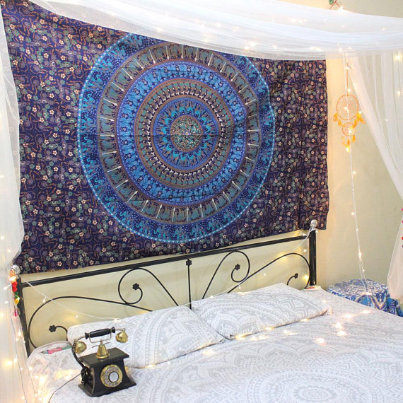 Twin Blue Elephant Wall Tapestry Indian Mandala Tapestries Hippie Tapestry Wall Hangings Cotton Bedspread Handmade bedding Boho decoration