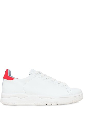 eyes sneakers leather white red shoes