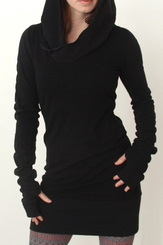 dress black long sleeves hoodie warm black hooded long sleeve dress cool fall outfits stylish fashion