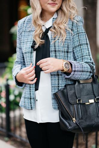 bows&sequins blogger jacket blouse jeans bag shoes jewels sunglasses