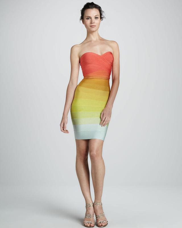 Sunset gradient strapless bandage dress