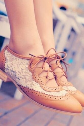shoes tan white lace white lace