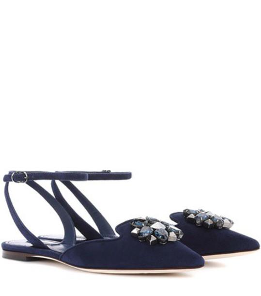 Dolce & Gabbana Bellucci embellished suede ballerinas in blue