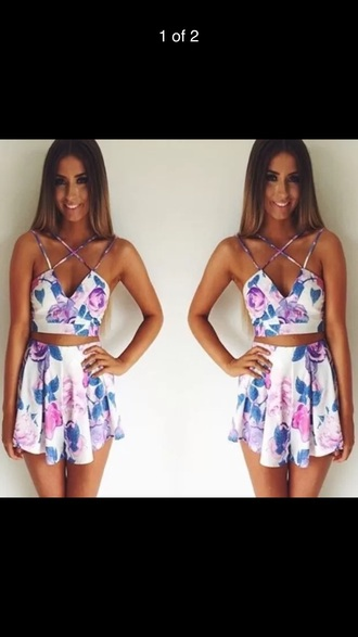 romper floral white two-piece set outfit set dress skirt crop tops cute strappy