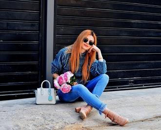 m&m fashion bites blogger jeans sweater shoes sunglasses bag pumps blue sweater skinny jeans handbag spring outfits