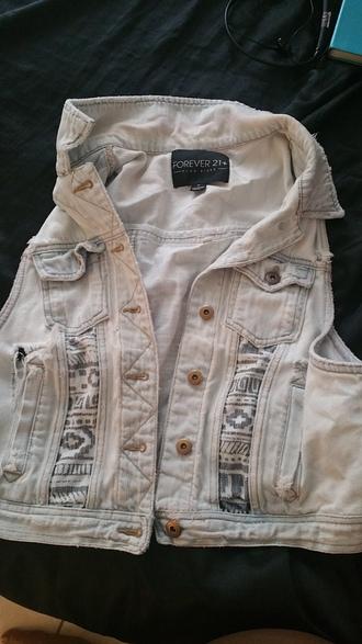 jacket forever 21 vest tribal pattern tribal vest acid wash stone washed