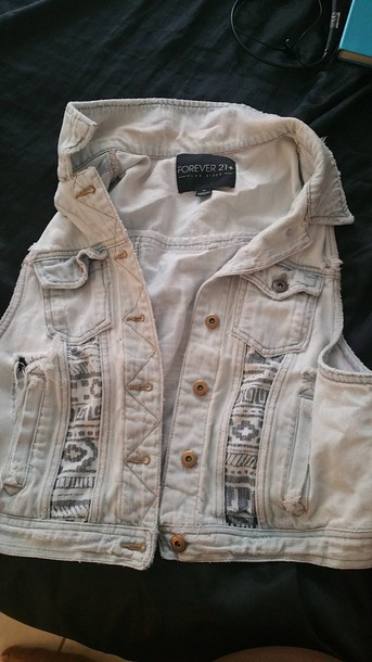 jacket forever 21 vest tribal pattern tribal vest acid wash stone washed