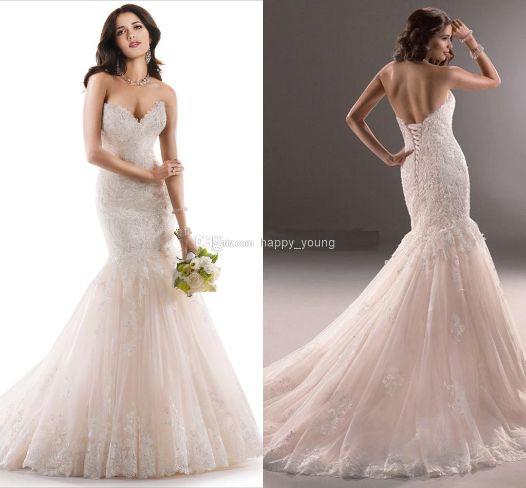 Cheap Mermaid Wedding Dress - Discount Designer Sweetheart Strapless Lace Mermaid Wedding Dress Chapel Online with $194.61/Piece | DHgate