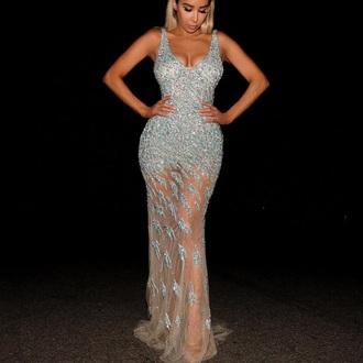dress diamonds prom dress long prom dress blue dress silver silver dress see through dress see through