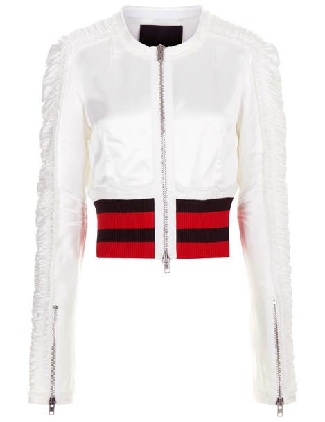 jacket bomber jacket white satin cream