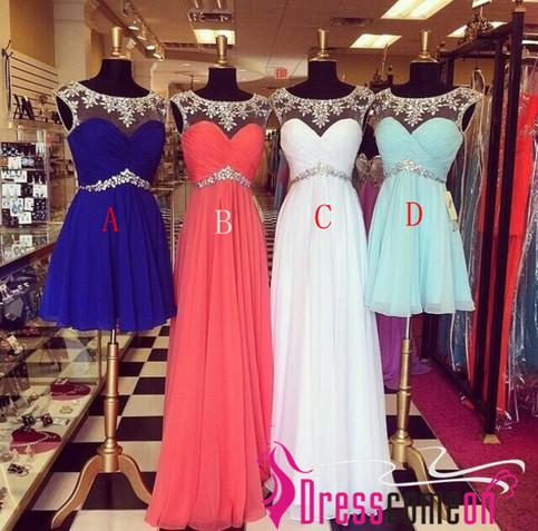 Line scoop zipper back beading prom dress,long prom dress 2014,short prom dresses,royal blue evening dress ts172 from dresscomeon on storenvy