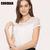 White Blouse Lace Chiffon Short Sleeve