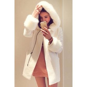 coat girly girl girly wishlist white fur fur coat