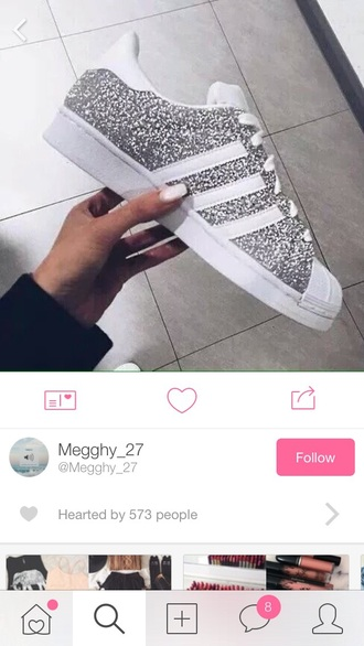shoes silver glitter adidas cute white