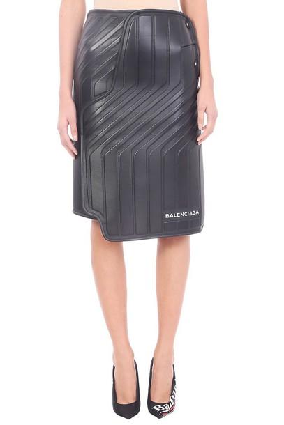 Balenciaga skirt leather skirt car leather black