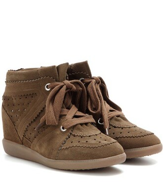 sneakers suede wedge sneakers brown shoes
