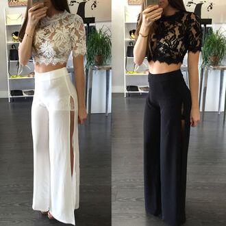 pants white black black and white skirt maxi skirt slit slit skirt skirt pants pant skirts