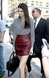 skirt,kendall jenner,bag,shoes,dress,bourdaux,red,leather,leather skirt,kendall and kylie jenner