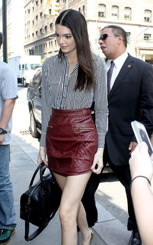 skirt kendall jenner bag shoes dress bourdaux red leather leather skirt kendall and kylie jenner
