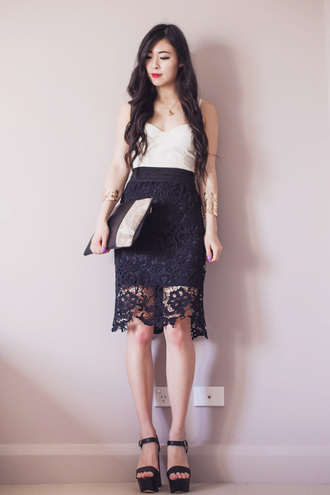 metallic paws blogger top jewels lace skirt wedge sandals pouch cuff bracelet