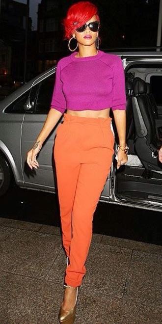 rihanna sweater purple orange pants