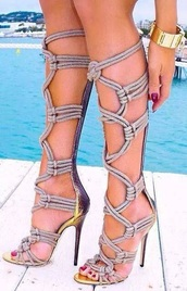 shoes,boots,gladiator boots,ropes,high heels,summer heels