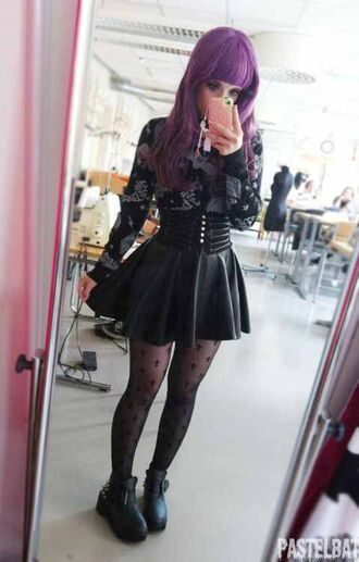 skirt black leather goth pastel goth buttons high waisted
