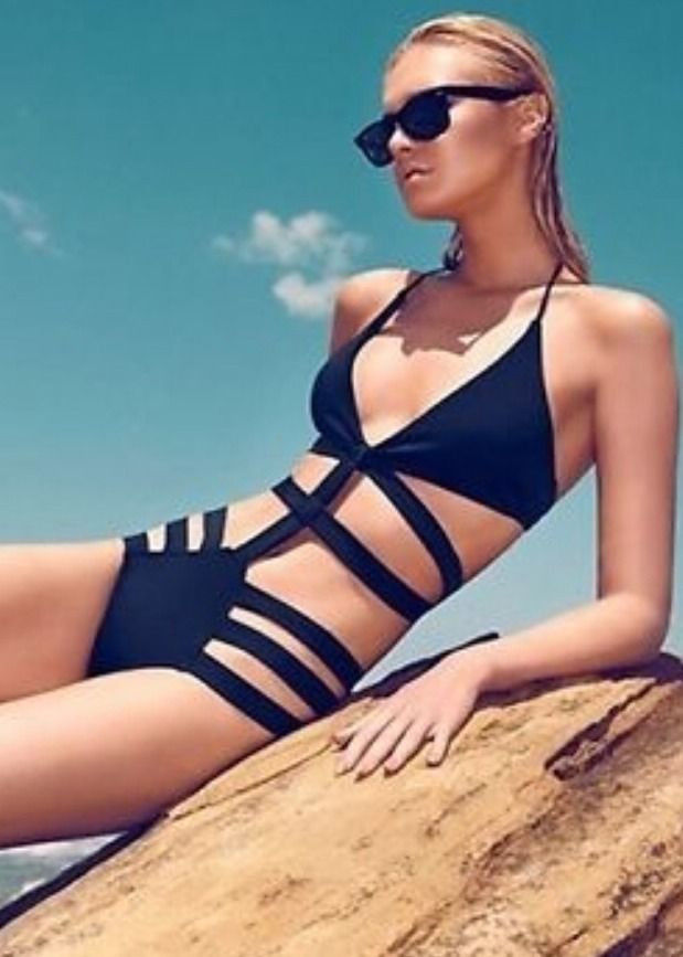 Strappy Bandage One Piece Swimwear Monokini Padded Bikini Swimsuit 35131