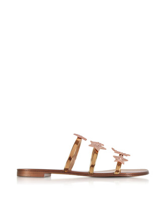 sandals leather gold shoes