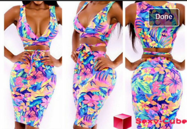 two-piece floral tank top floral skirt tropical bodycon dress clubwear dress
