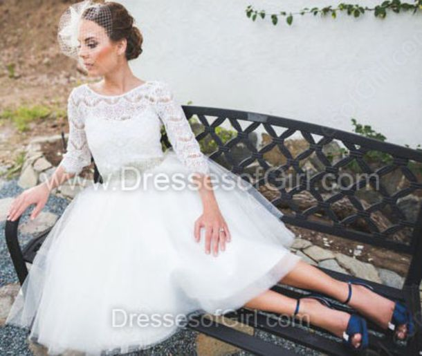 dress white wedding dress scoop neck tulle dress dressofgirl lace stars princess wedding dresses midi dress bride wedding retro cute amazing gorgeous