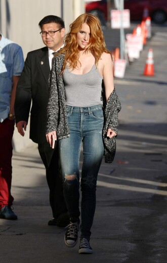tank top top cardigan bella thorne jeans ripped jeans