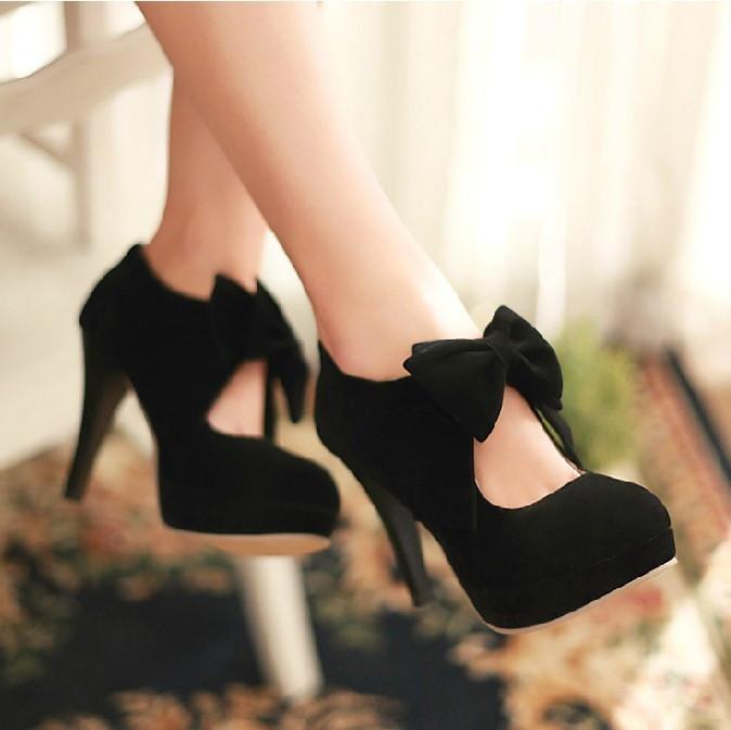 Black tie high heels