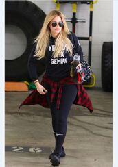 sweater,sweatshirt,khloe kardashian,socks,shirt,all black everything,black sunglasses,plaid shirt