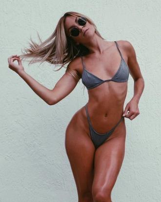 swimwear dbrie swim bikini bikini bottoms skimpy minimalist grey casi casi davis