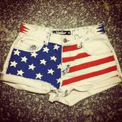 shorts,stars,stripes,american flag,denim,red,cut off shorts,High waisted shorts