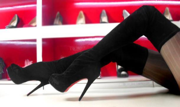quality design c7ba2 714dd 5 inch Heels - Black suede over the knee high heel boots