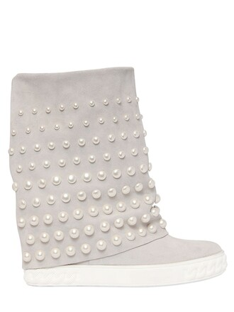 embellished sneakers suede wedge sneakers white shoes