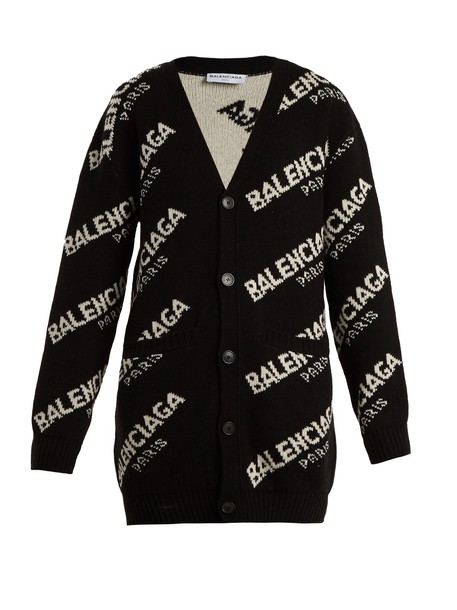 Balenciaga cardigan cardigan long white black sweater