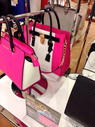 bag pink white black bag