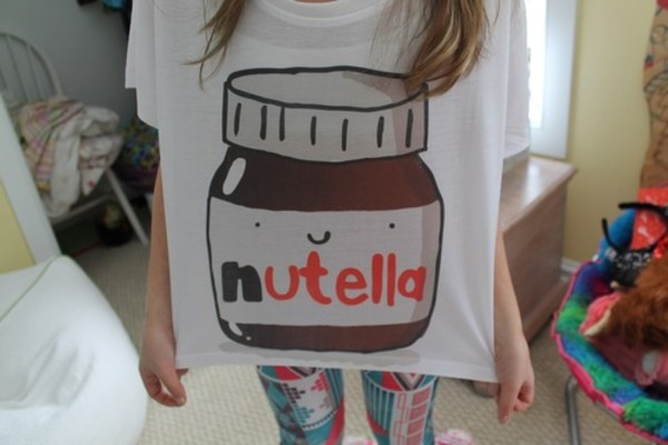 t-shirt nutella shirt brown tank top cute white t-shirt oversized t-shirt food sweetheart dress perfect nice lovely red happy face smile girl t-shirt sweet aww white shirt printed crop top