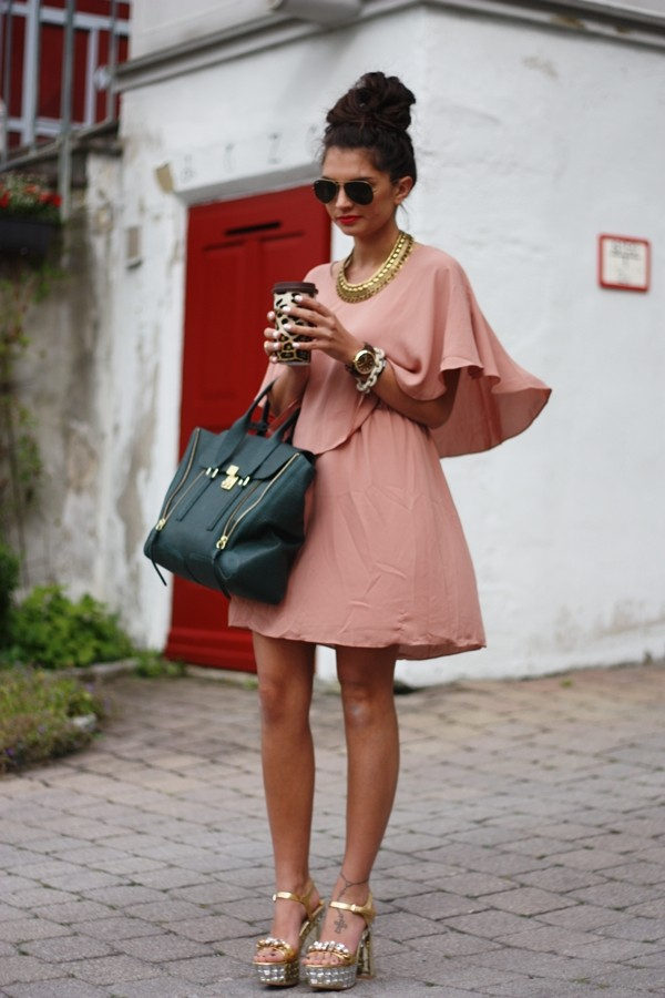 Brown Dress Gold Shoes