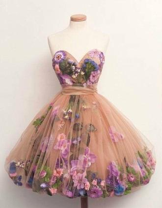 dress flowers party dress vintage pink salmon